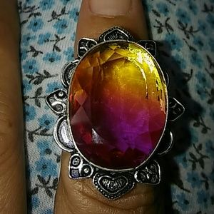 Bi color oval tourmaline silver ring